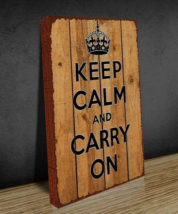 Tela GRANDE 40x60 Keep Calm Wood na internet