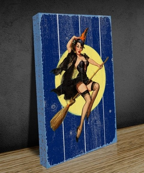 Tela GRANDE 40x60 Pin Up Bruxa