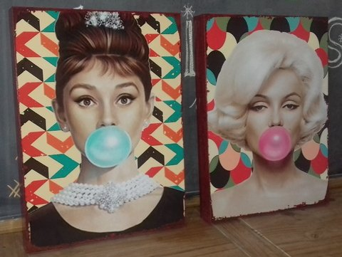 Kit 2 Telas 30x40 Marilyn & Audrey Bubble