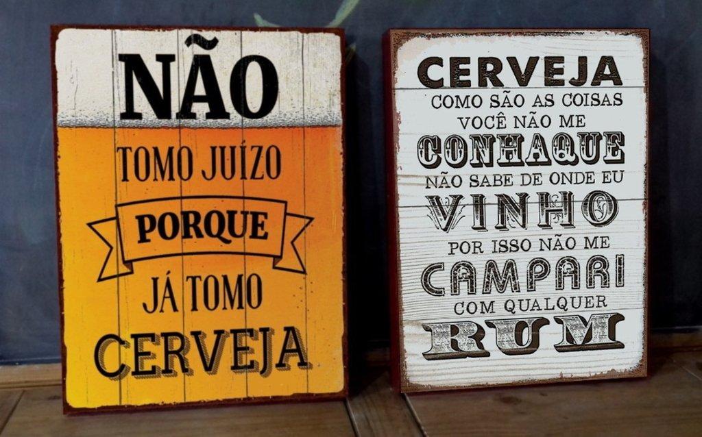 Kit 2 Telas 30x40 Frases Cerveja Comprar Em Poiszé