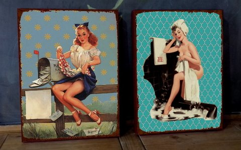 Kit 2 Telas 30x40 Pin Ups Mail / Bath
