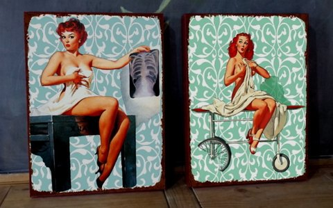Kit 2 Telas 30x40 Pin Ups Hospital