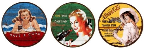 Kit 3 Placas Redondas 6mm Coca Cola