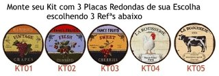 Kit 3 Placas Redondas 6mm Country Style na internet