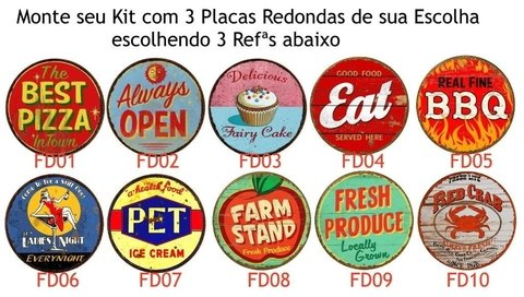 Kit 3 Placas Redondas 6mm Food na internet