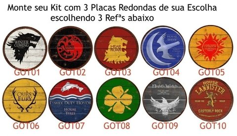 Kit 3 Placas Redondas 6mm Game of Thrones na internet