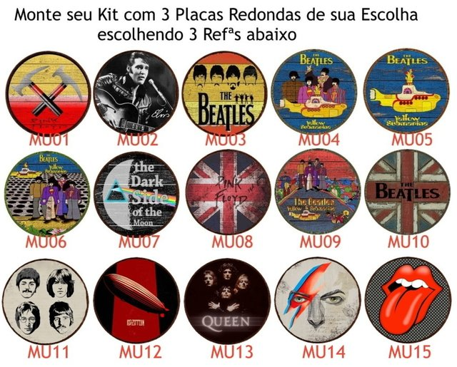 Kit 3 Placas Redondas Music Lovers 01 - comprar online