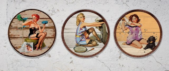 Kit 3 Placas Redondas  Pin Ups 03