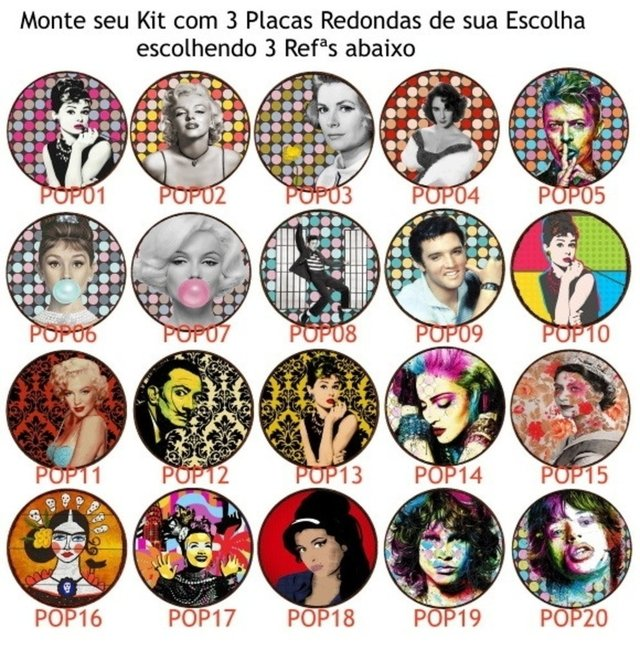 Kit 3 Placas Redondas  Pop Art Stars 03 - comprar online