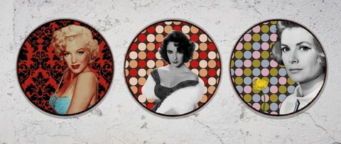 Kit 3 Placas Redondas  Pop Art Stars 03