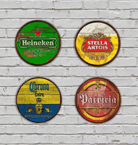 Kit 4 Placas Redondas 3mm Cervejas 02