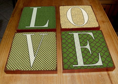 Kit 4 Quadros Tela 20x20 Motivacional LOVE green