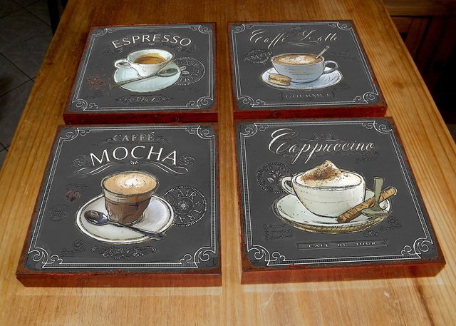 Kit 4 Quadros Tela 20x20 Café Chalk na internet