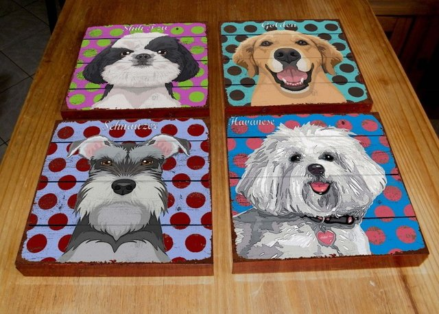 Kit 4 Quadros Tela 20x20 Pop Art Dogs - PoisZé