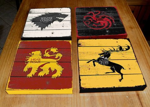 Kit 4 Quadros Tela 20x20 Game Of Thrones GOT