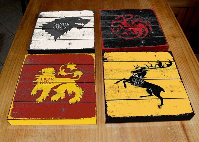 Kit 4 Quadros Tela 20x20 Game Of Thrones GOT - comprar online