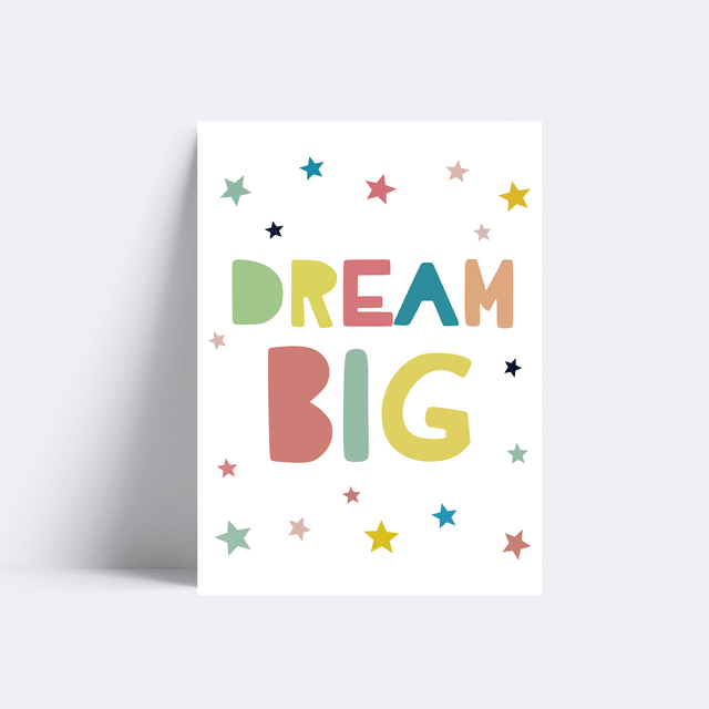 Placa Dream Big - Colorful