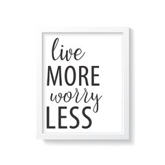 Quadro Poster Live More Worry Less - comprar online