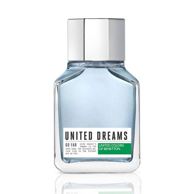 United Dreams Men Go Far Benetton is a fragrance family fragrance for men Aromtica Acutica. The top notes are citron lime green limn and marine notes Corazn notes are lavender blue lotus flower and cardamom base notes are cedar and moss mbar.