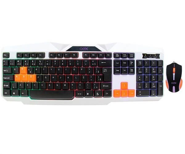 KIT TECLADO E MOUSE OEX GAMER COMBO ICE, TM-300