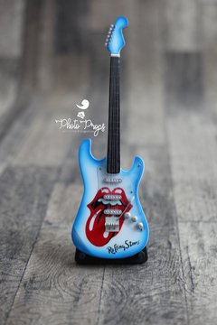 Mini Guitarra - Famous Rolling Stones - Blue - Photo Props