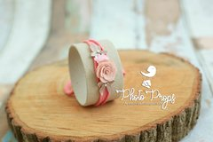 HeadBand - Floral mod. 002 Coral Claro - Photo Props