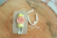 HeadBand - Floral mod. 002 Cinza - Photo Props