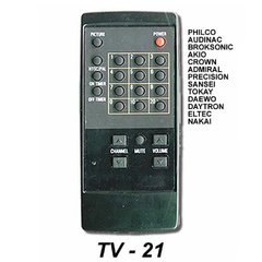 TV 21 - Control Remoto TV PHILCO AUDINAC SONY CROWN MUSTANG