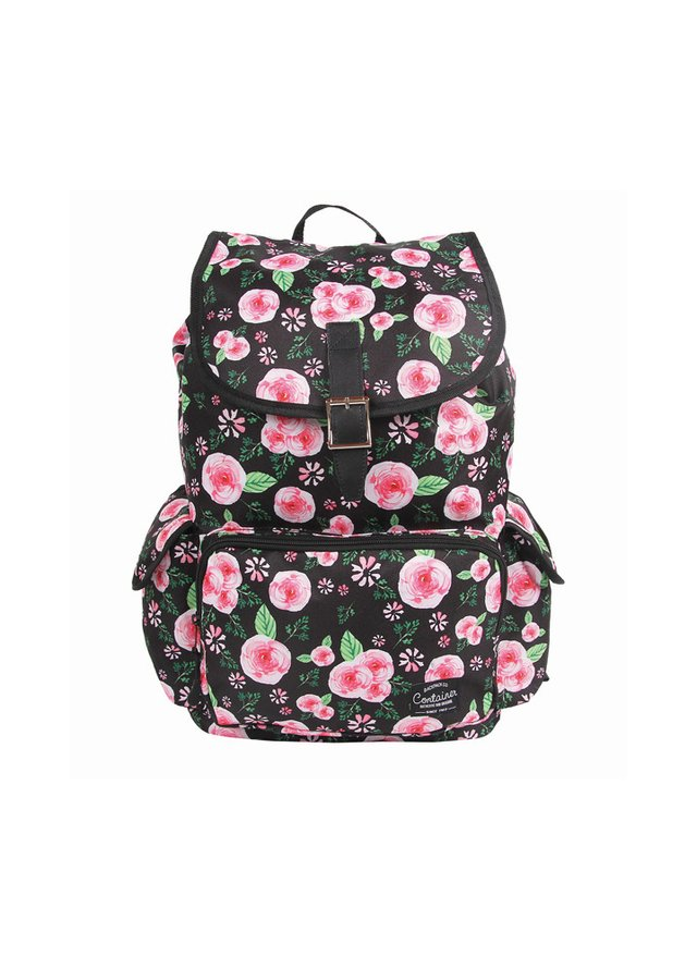 Mochila G c/ Bolso Frontal Container Floral – 30113