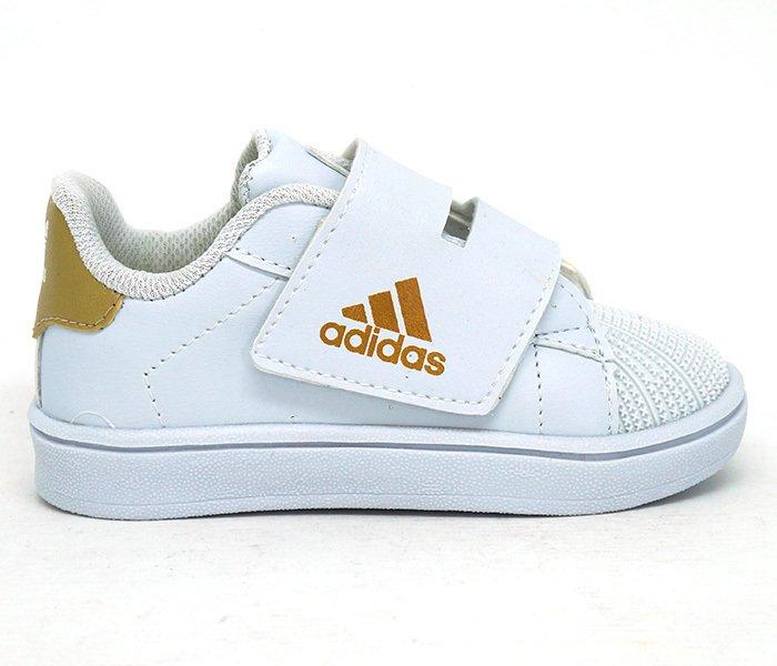 42ae4f935de Tênis Bebê Adidas Velcro Branco e Dourado