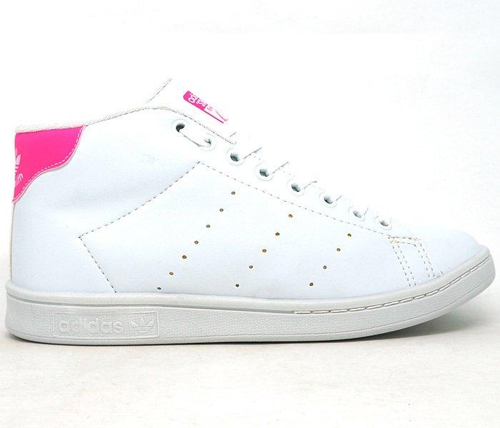 249712df131 Tênis Adidas Stan Smith Cano Alto Branco e Rosa