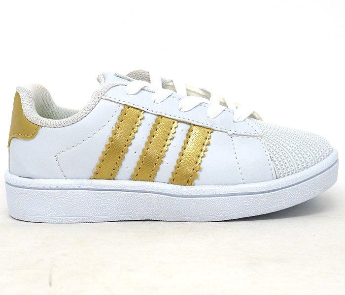 79718933e8c Tênis Infantil Adidas Superstar Branco e Dourado