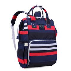 MOCHILA MATERNAL STRIPES + MOCHI LUNCHERA INFANTIL CORNELIA CAT
