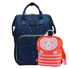 MOCHILA MATERNAL NAVY TRIANGLES + MOCHI LUNCHERA INFANTIL CORNELIA CAT
