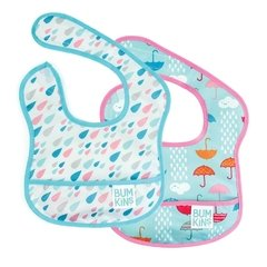 Starter Bib Raindrops & Umbrella  - Pack x 2