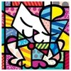 Digital Print Romero Britto Blue Cat - comprar online