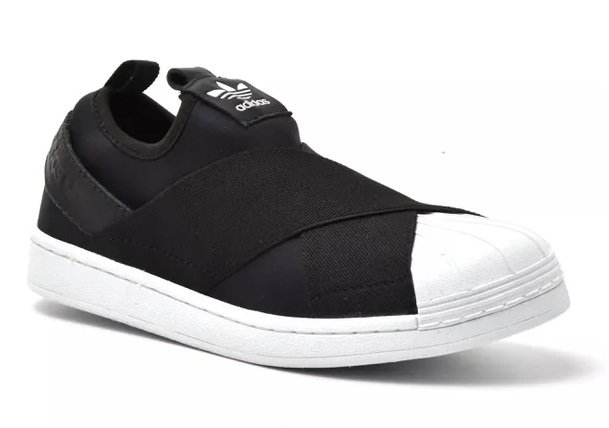 399e08d066 Tênis Adidas Slip-On Preto C Frente Branca