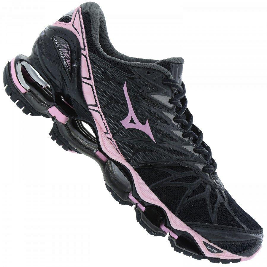 tênis mizuno wave prophecy 2 pro 2 preto com rosa feminino
