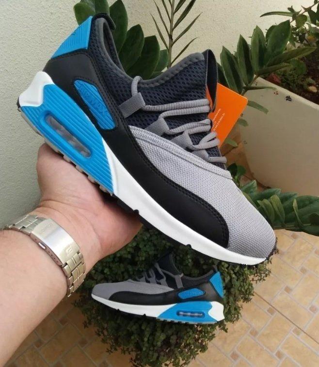 Tênis Nike Air Max 90 Azul e Vermelho