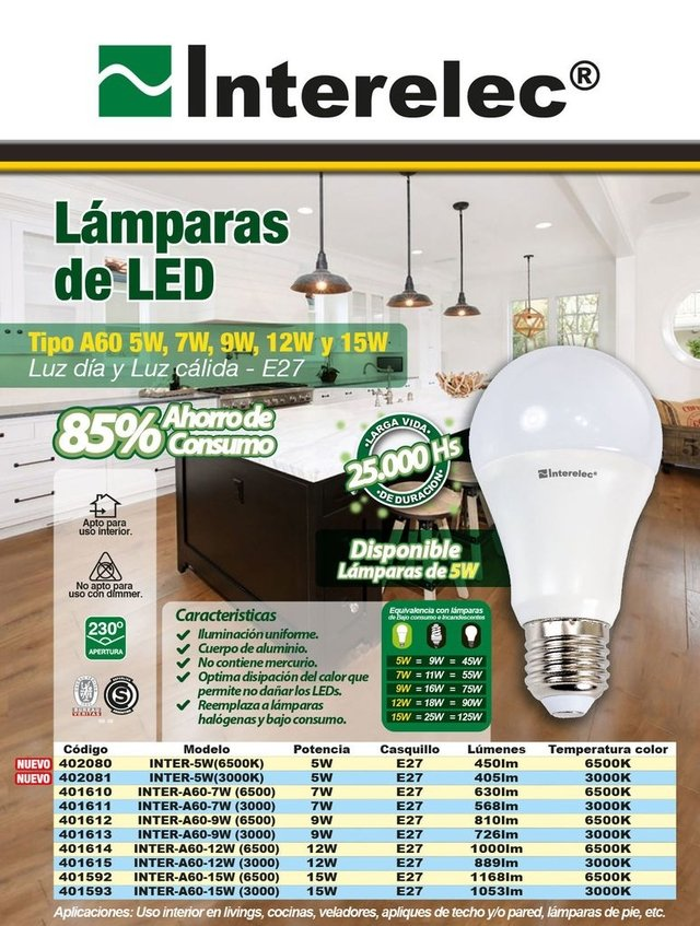 Lámpara LED 15w Luz Fría Pack 10 Interelec - comprar online