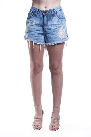 Shorts Osmoze Destroyed Bordado Bolso Azul - Osmoze Jeans Store
