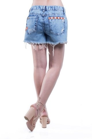 Shorts Osmoze Destroyed Bordado Bolso Azul - comprar online