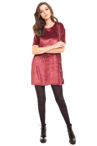 T-Shirt Daniela Cristina Long Plush Bordo