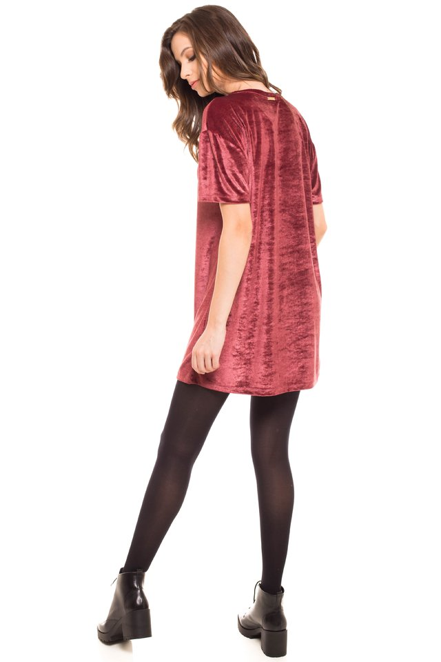 T-Shirt Daniela Cristina Long Plush Bordo - comprar online