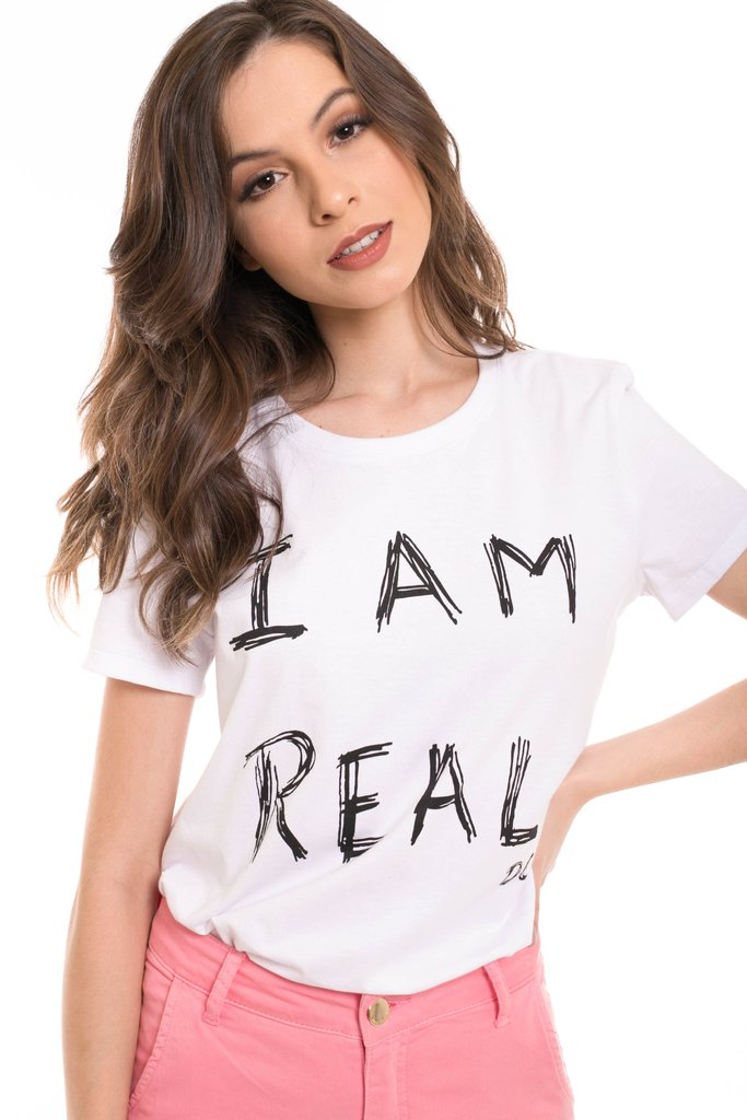 T-Shirt Daniela Cristina I am real Branco