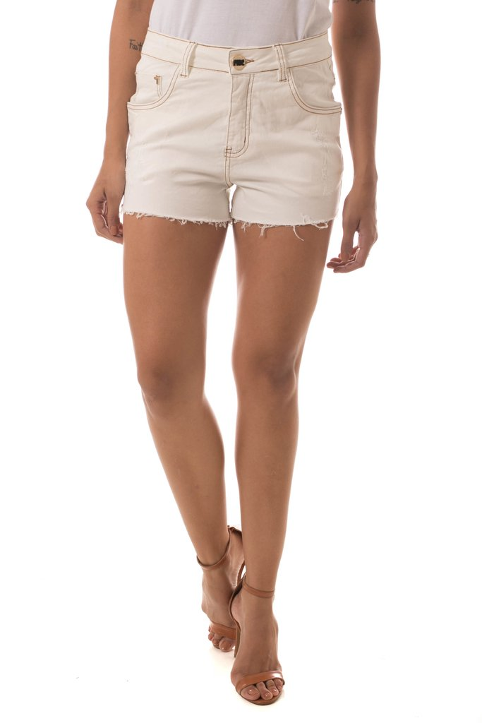 Shorts Jeans Denuncia Mid Drop Off White - comprar online
