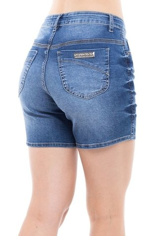 Shorts Denuncia Mid Rise Middle Azul na internet