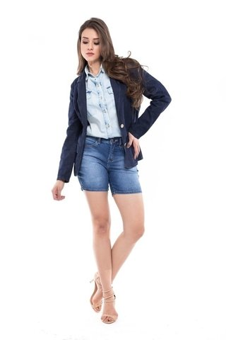Shorts Denuncia Mid Rise Middle Azul - loja online