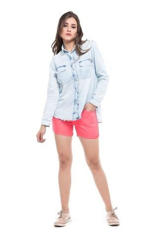 Shorts Denuncia Mid Rise Angie Plus Rosa - loja online