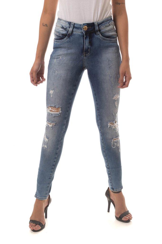 c6b100139 ... Calça Jeans Denuncia Mid Rise Skinny Azul - comprar online ...